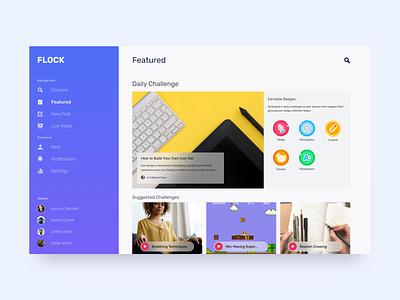 Flock - Featured Page web app typography adobe icon vector illustration branding ui figma design