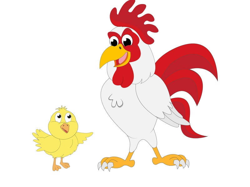 rooster and chick rooster chicken chick funny cute animal illustration cartoon design