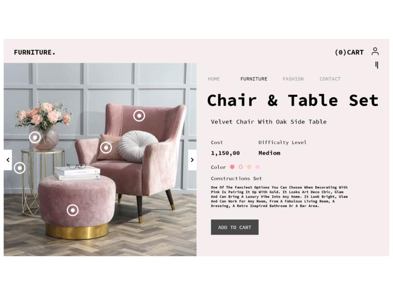 furniture. tehran iran pink furniture uiux landing page ui app ux design