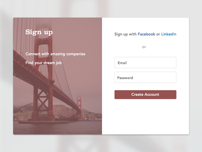 Sign up modal burgandy maroon bridge create modal ux ui sign up