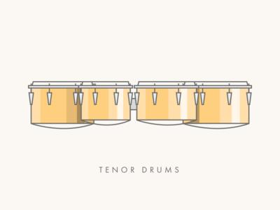 Tenor Drums (aka Quads or Quints) percussion design graphic line illustration quads drums drum tenor