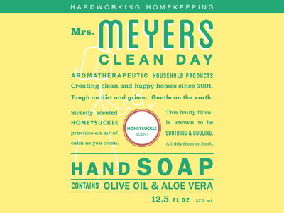 Mrs. Meyers soap label recreation hands clean meyers typography label soap