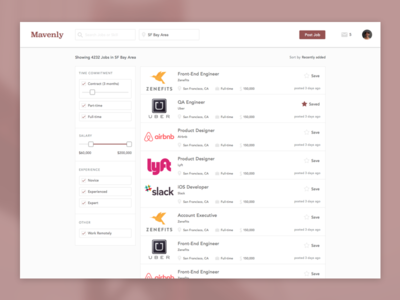Job Search & Filter UI jobs filter search ui ux
