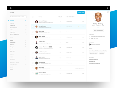 User Management admin filters table users ui ux