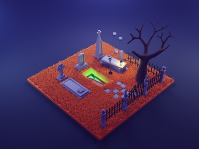 Spooky cemetery dribbbleweeklywarmup spooky tombstone grave cemetery fall autumn isometric blender low poly 3d art 3d