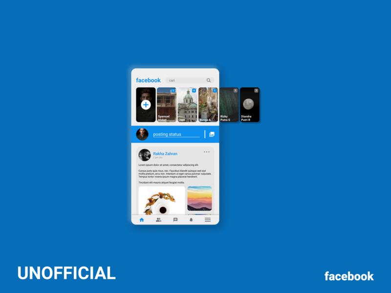 Unofficial Facebook mockup mobile app design mobile design mobile app mobile ui mobile app typography ux ui flat minimal design
