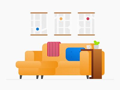 Furniture Rework table sofa furniture illustration design