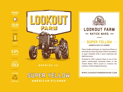 Lookout Farm Brewing Co. Super Yellow cider brewing farm emblem tractor typography logo system packaging design branding beer label beer can beer