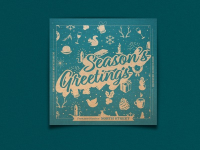 2018 Holiday Card design south street seaport greeting pattern card illustration font type holiday2018 xmas happy holidays