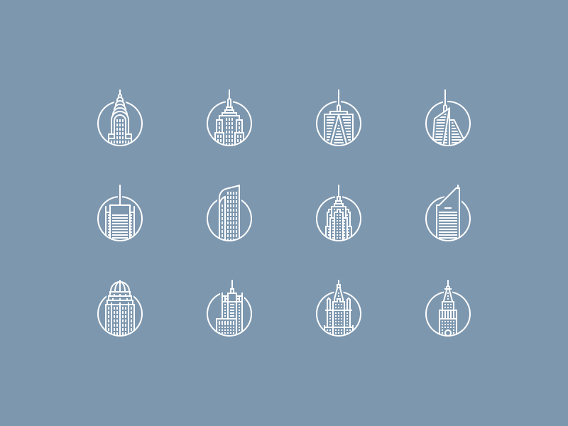 Iconic buildings icons set nyc architecture freebie psd