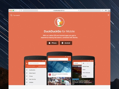 App Landing Page icons design redesign duckduckgo android mobile web landing page