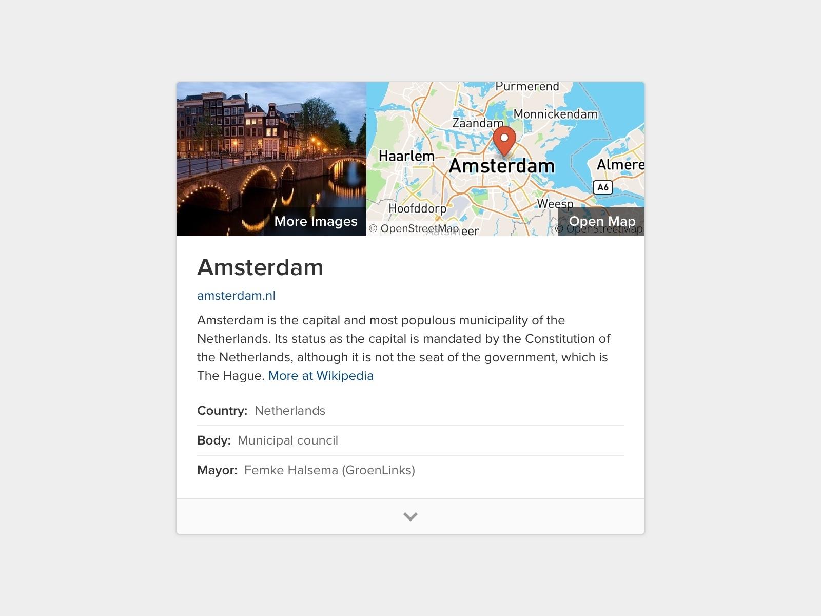 About Amsterdam duckduckgo results card map design web ui amsterdam search engine modular module