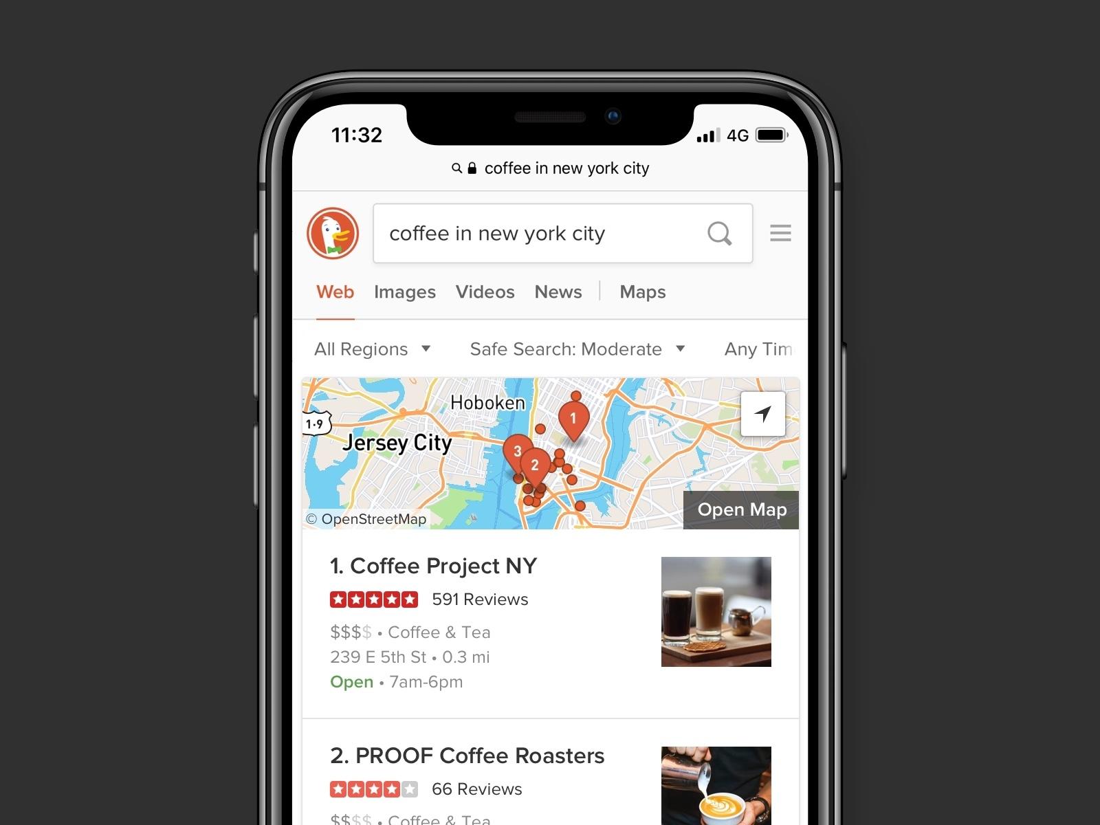 Coffee in NYC duckduckgo coffee map design ui web search engine modular module results search results search