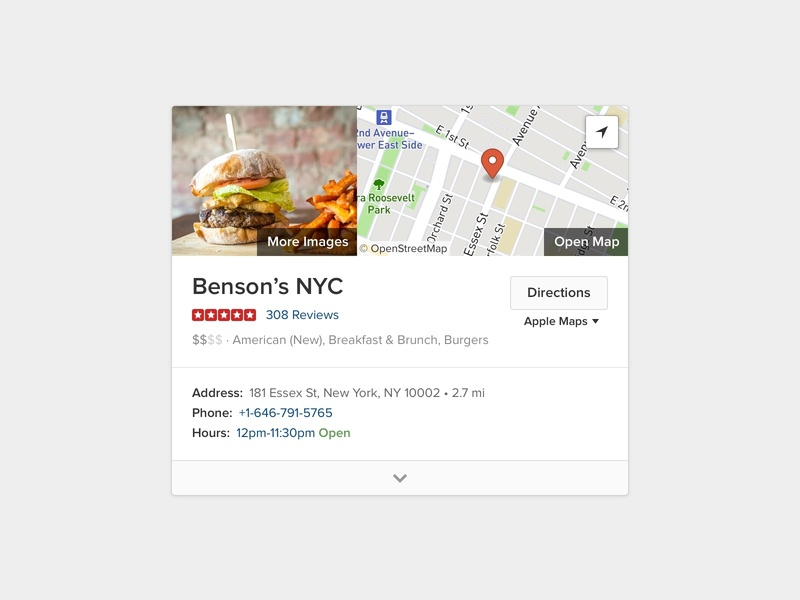 Burgers in NYC duckduckgo burgers directions places restaurants map card modular module search results search engine results design web ui
