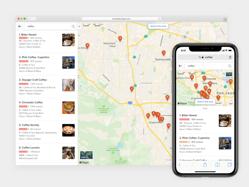 DuckDuckGo Maps Tab apple local search mobile duckduckgo map web ui