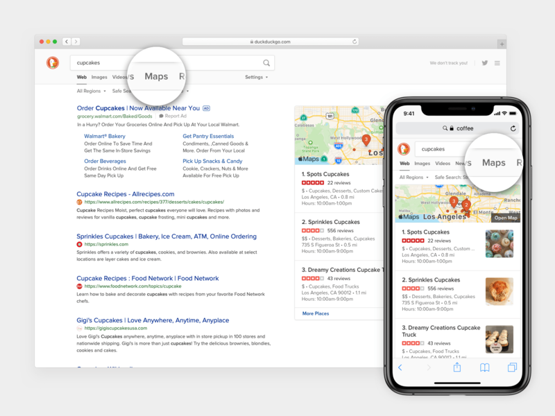 DuckDuckGo Static Maps Tab ux design mobile local serp web ui apple map search duckduckgo