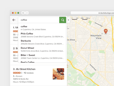 DuckDuckGo Maps Autocomplete web design ux ui apple map serp mobile duckduckgo search autocomplete