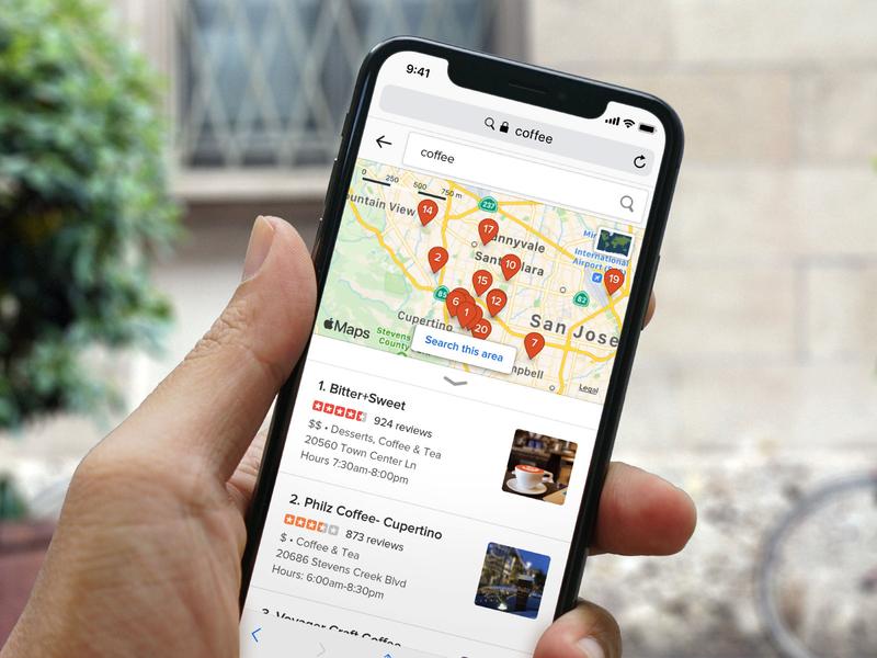DuckDuckGo Maps on mobile web design ux ui apple map search duckduckgo mockup mobile