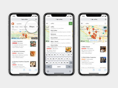 DuckDuckGo Maps on mobile design map apple search duckduckgo serp web ux ui mobile