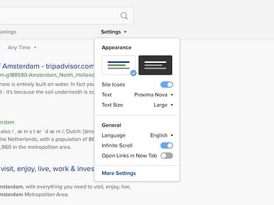 Settings 👨🎨 preferences customization menu modal design web ux ui duckduckgo search serp settings
