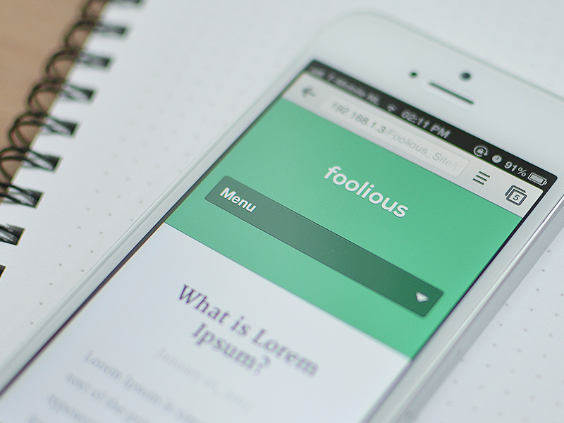 Foolious – Main Site foolious web mobile responsive adaptive flat semi-flat retina website clean menu