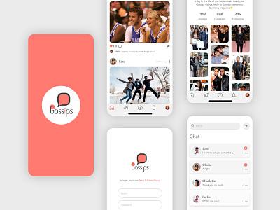 Gossips. Social Media App Concept menu colors mobile social media message app ux ui design