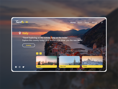 Travellia. Website Design ux clean colors landing page app ui design web design