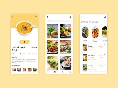 Food App Concept inspiration app designers menu design drink delivery app food app ecommerce colors clean design uiux mobile app