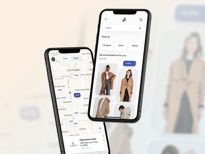 E-commerce app for fashion retailers fashion app fashion ios clean clothing map integration mobile application ux mobile design mobile app design ecommerce e-commere ecommerce app clothing app iso app mobile app application ui