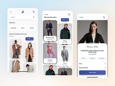 E-commerce app for fashion retailers ux  ui mobile application design android app design ios app design clean mobile ui menu navigation fashion app clothing app e-commerce app mobile app design ecommerce app