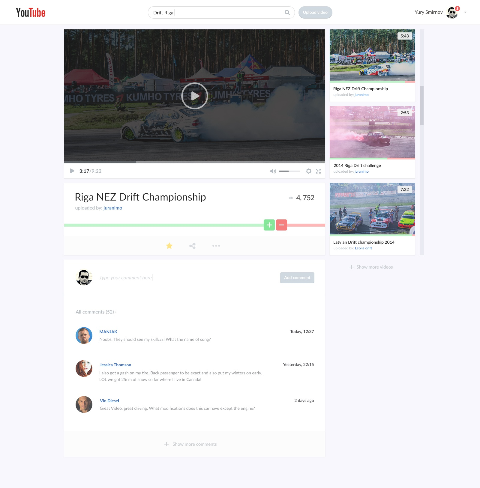 Youtube video page redesign (free PSD) by Yury Smirnov - Dribbble