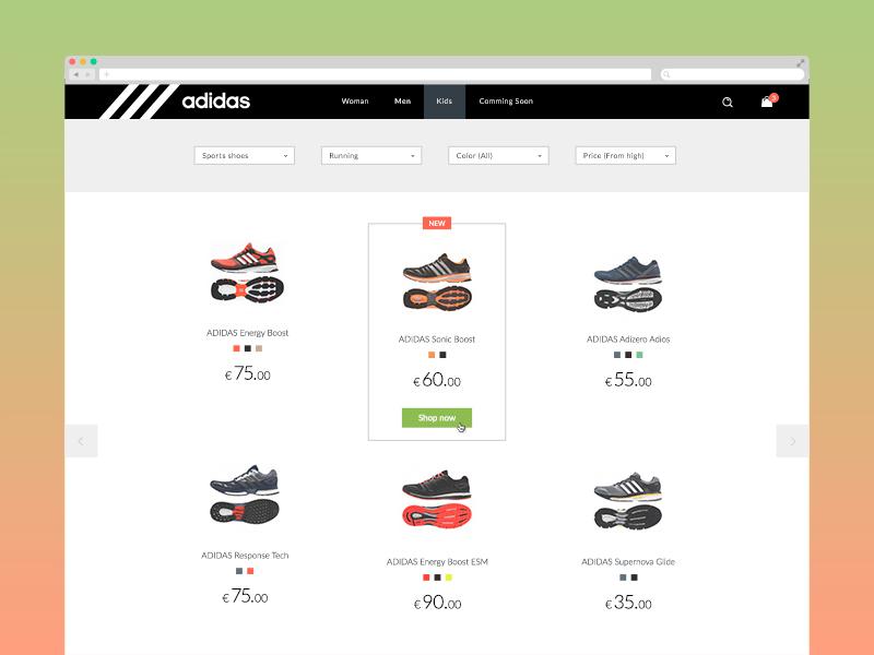 c37e54ef96e Adidas online store concept by Yury Smirnov