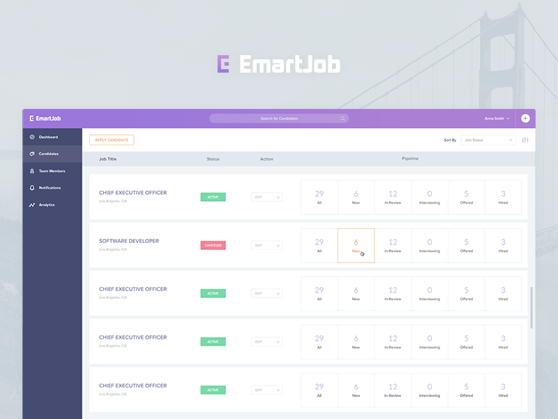 Web Application For Recruiting Company dashboard admin panel search filter navigation logo profile startup ui interface icons