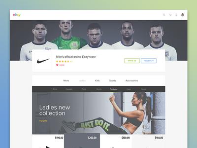 Ebay - Concept (Seller's custom store page - NIKE) navigation clean commerce store sport nike ebay ui flat website webdeisgn concept