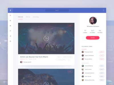 Facebook streaming application concept interface broadcast broadcasting translation live navigation profile application redesign streaming stream facebook