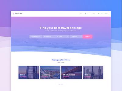 Travel website landing catalog testimonials city compare adventure filter search vacation trip website travel