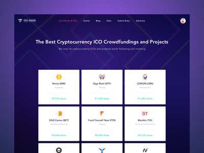 Cryptocurrency ICO crowdfunding monitor platform altcoin coin transaction progress rating investments blockchain stock etherium bitcoin crowdfunding cryptocurrency