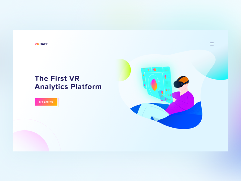 The First VR Analytics Platform landing analysis data application dashboard technology illustration ai ar platform analytics vr