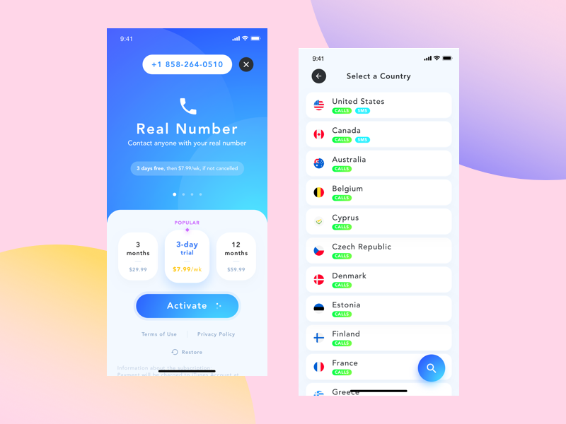 """Virtual Number"" App application cta search list cards pricing plan phone iphonex ios mobile app virtual number"