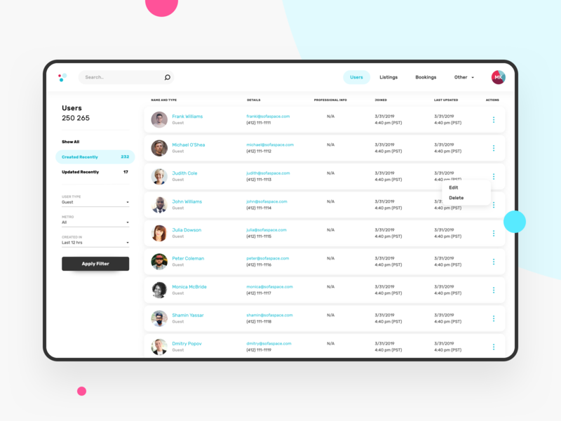 Internal CMS tool for Customer Support team interface design ux ui clean experience design system platform operations minimalism list application ui interface host dashboard application design customer support cms development clean ui bookings application