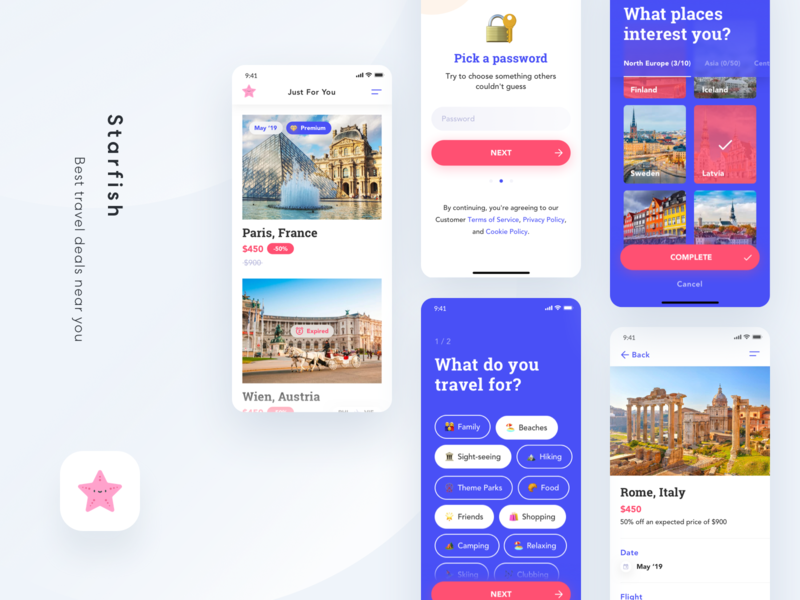 Starfish - Last Minute Travel Deals explore best deals deals onboarding sign up creative last minute flights deals app ios apps uidesigns ux uidesign uxdesign mobile ux design mobile app ios app discover travel app travel