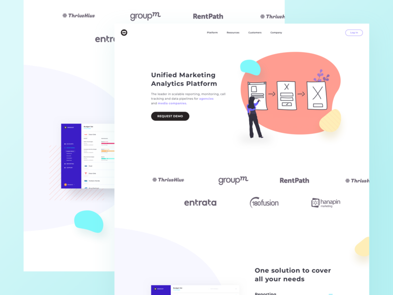 Landing Page for Marketing Analytics Platform marketing agency cta interface design uxui ux dashboard finance ecommerce landing application product website product landing page product landing product design responsive webdesign website platform analytics marketing