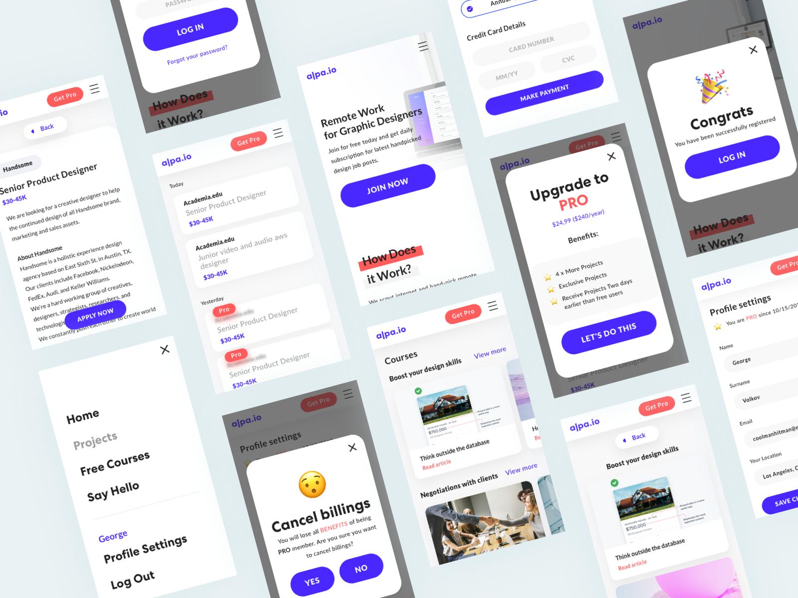 Alpa io - remote work & free courses for designers by Yury