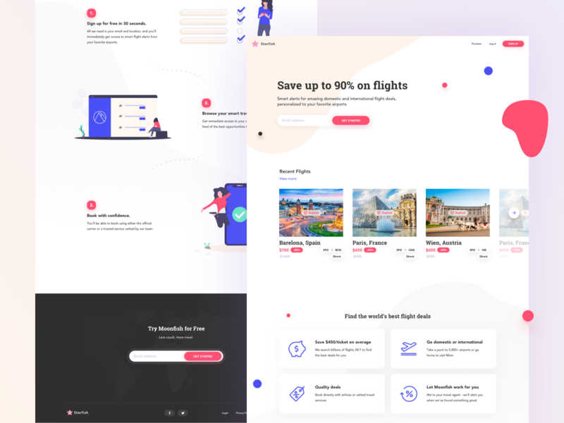 Starfish - Last Minute Travel Deals responsive design ui ux notification traveling last minute subscribe slider cards mainpage webdesign website landing pages landing page travel deals travel app travel