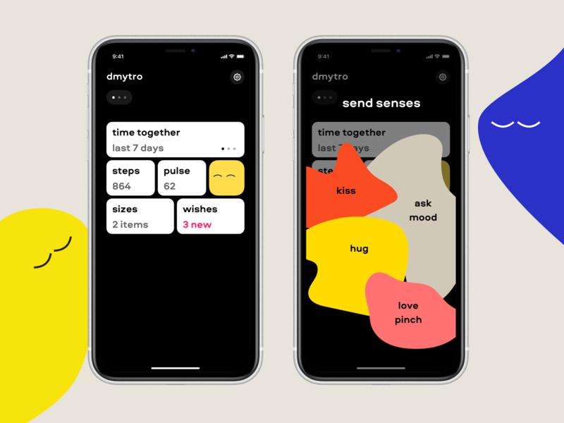 Obimy App - Senses black tiles time tracker steps pulse partner relationships spouse kiss love mood sense illustration cards minimal health free design clean app app