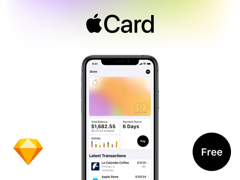Apple Card Freebie Sketch File keynote online banking banking bank ios 13 ui kit ui design freebie free download debut credit card apple pay apple card apple ios 12 gradient clean app app