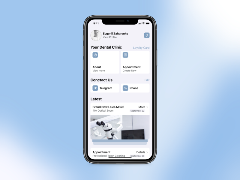 Dental Clinic App pastel minimal dental clinic dental ui design apple debut clean app app