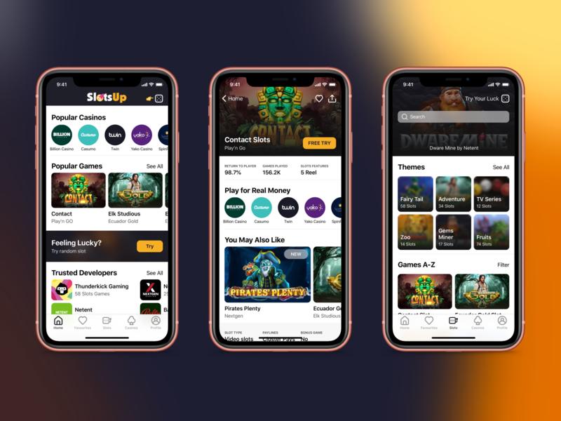 SlotsUp - Online Games Catalog free app store catalog casinos slots games gradient design apple debut clean app app
