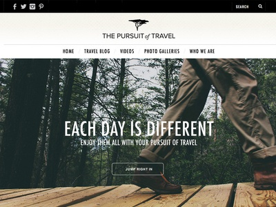 The Pursuit of Travel Homepage
