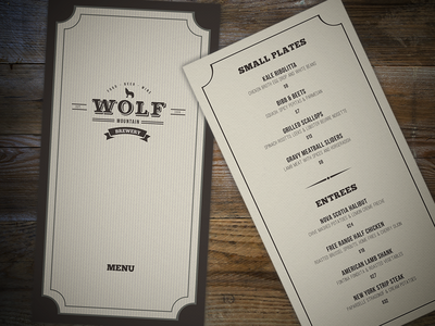 Wolf Mountain Food Menu